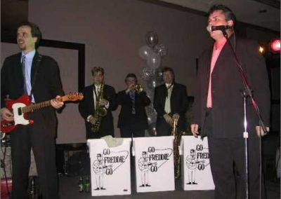 Gerard and Skeets with Hush Money Horns Gene Hardy, Peter Jeffrey and Chris Mitchell at Good Shepherd Centre Gala